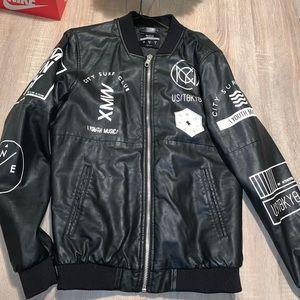 Men's Bershka Faux Leather Biker Jacket